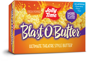 Jolly Time Blast O Butter Microwave Popcorn. Our best butter popcorn with a movie theater style extra buttery flavor.
