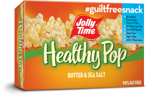 Jolly Time Healthy Pop Butter Microwave Popcorn. A 94% fat free popcorn endorsed by Weight Watchers to support a healthy diet thumbnail