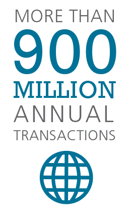 More than 900 million annual transactions