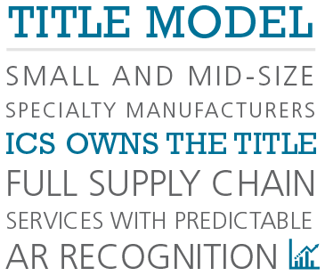 Title model: Small and mid-size specialty manufacturers.  ICS owns the title.  Full supply chain services with predictable AR recognition